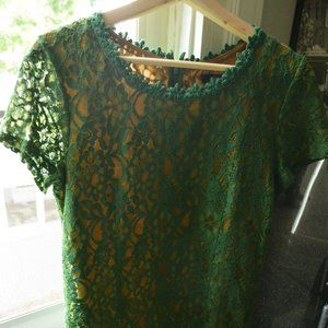 Never Worn- Green Embroidered Dress